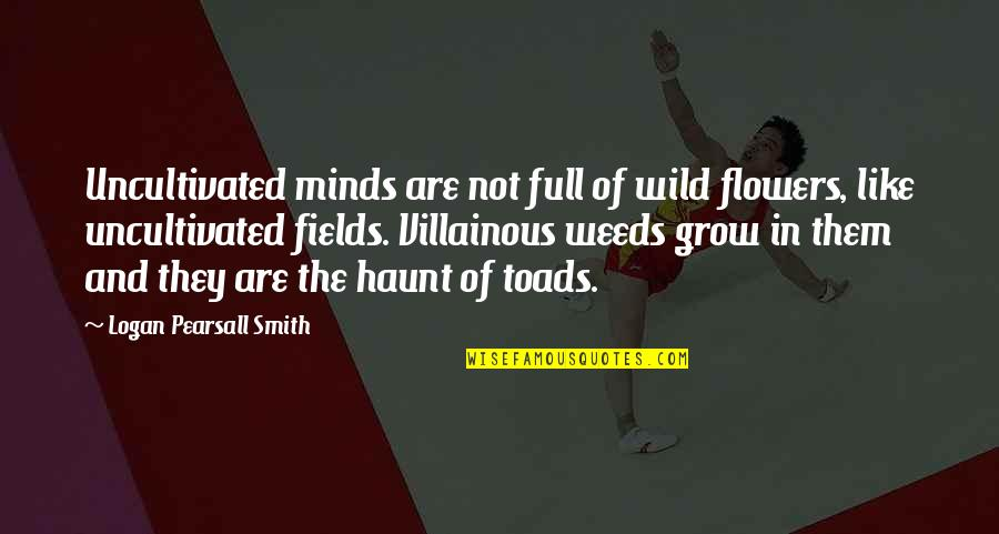 Most Villainous Quotes By Logan Pearsall Smith: Uncultivated minds are not full of wild flowers,