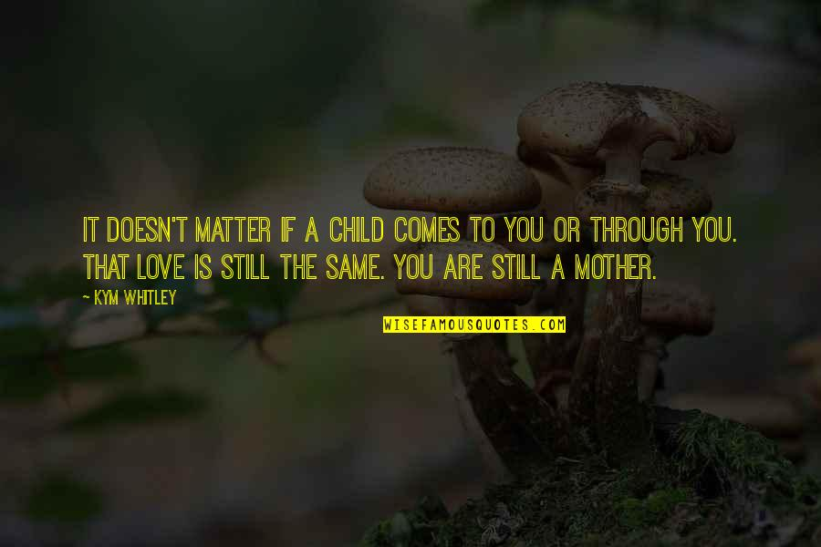 Mother Love To Child Quotes By Kym Whitley: It doesn't matter if a child comes to