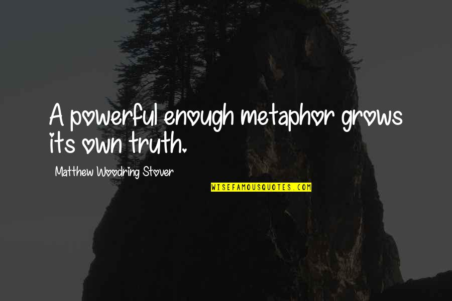 Mother Who Has Died Quotes By Matthew Woodring Stover: A powerful enough metaphor grows its own truth.