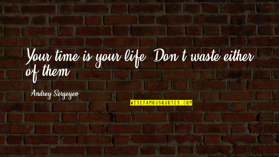 Mothers And Babies Quotes By Andrey Sergeyev: Your time is your life. Don't waste either