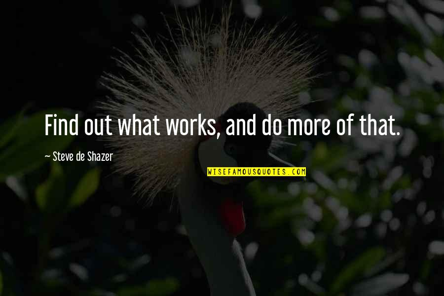 Mothers And Babies Quotes By Steve De Shazer: Find out what works, and do more of