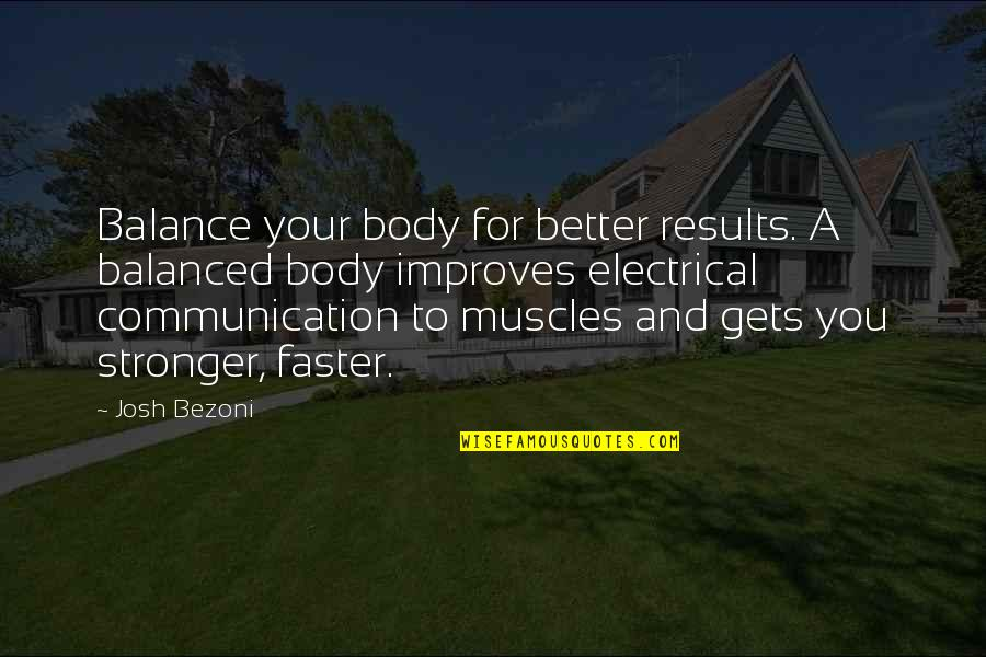 Motivation And Fitness Quotes By Josh Bezoni: Balance your body for better results. A balanced