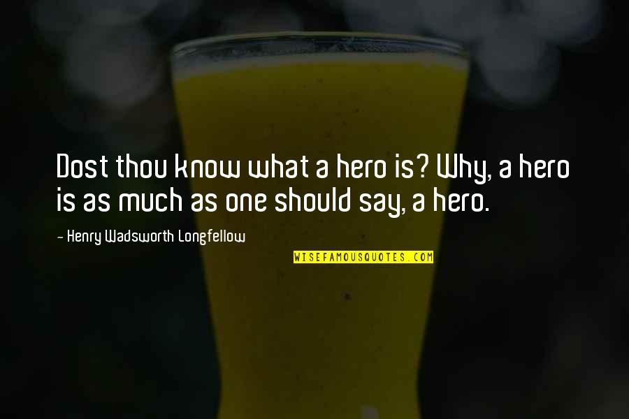Motivational Halftime Quotes By Henry Wadsworth Longfellow: Dost thou know what a hero is? Why,