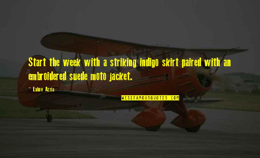 Moto Quotes By Lubov Azria: Start the week with a striking indigo skirt