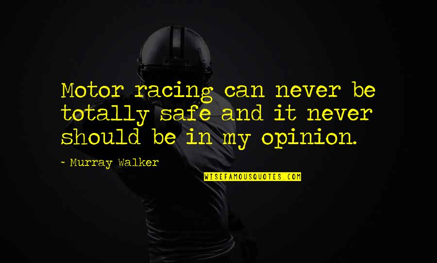 Motor Racing Quotes By Murray Walker: Motor racing can never be totally safe and