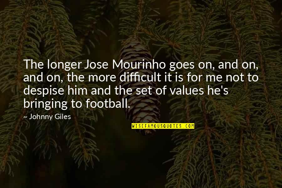 Mourinho Quotes By Johnny Giles: The longer Jose Mourinho goes on, and on,