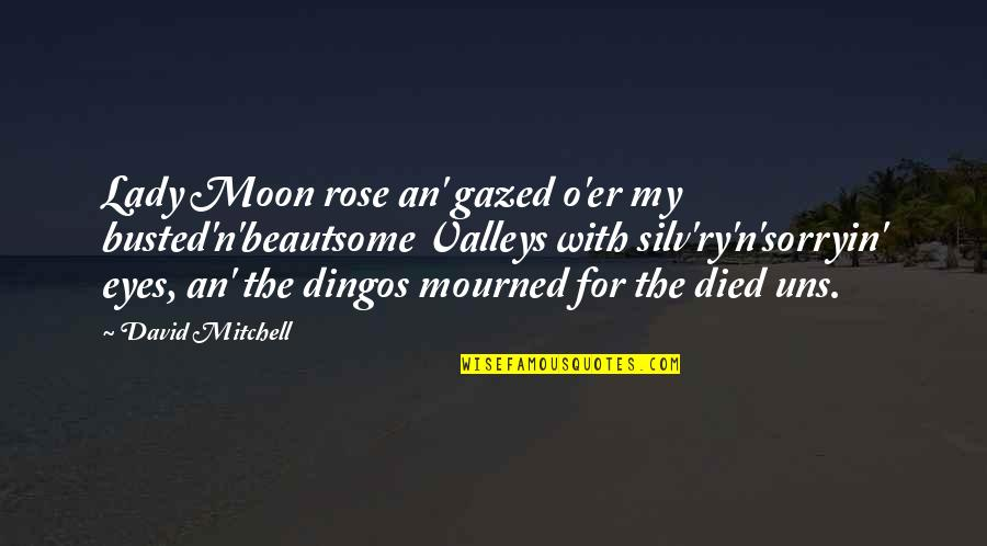 Mourned Quotes By David Mitchell: Lady Moon rose an' gazed o'er my busted'n'beautsome