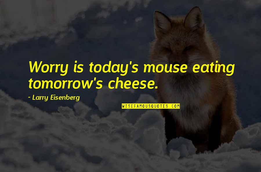 Mouse And Cheese Quotes By Larry Eisenberg: Worry is today's mouse eating tomorrow's cheese.