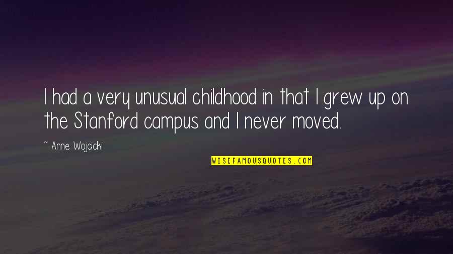 Moved Up Quotes By Anne Wojcicki: I had a very unusual childhood in that
