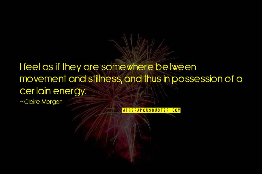 Movement And Stillness Quotes By Claire Morgan: I feel as if they are somewhere between