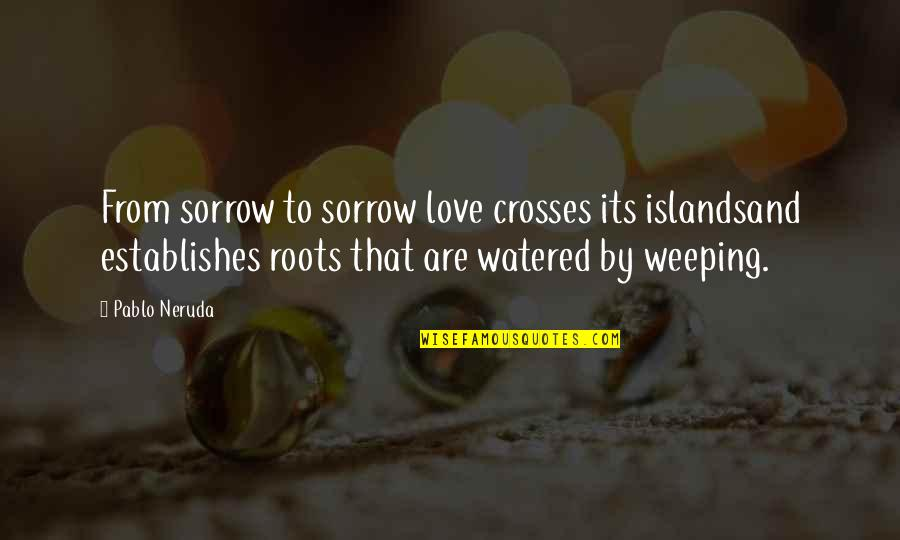 Movie Payback Quotes By Pablo Neruda: From sorrow to sorrow love crosses its islandsand