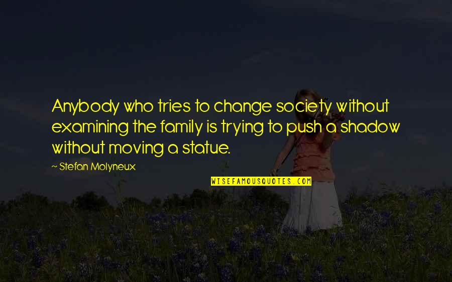 Moving On From Family Quotes By Stefan Molyneux: Anybody who tries to change society without examining