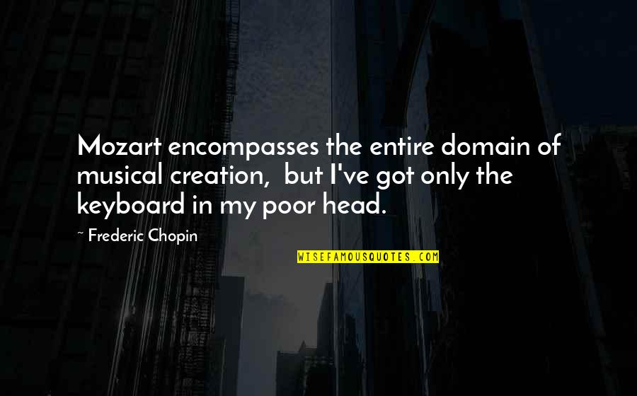 Mozart's Quotes By Frederic Chopin: Mozart encompasses the entire domain of musical creation,