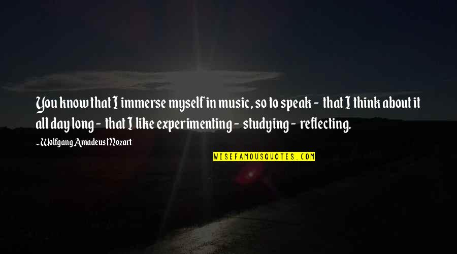 Mozart's Quotes By Wolfgang Amadeus Mozart: You know that I immerse myself in music,