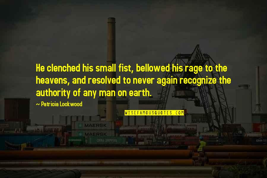 Mr Lockwood Quotes By Patricia Lockwood: He clenched his small fist, bellowed his rage