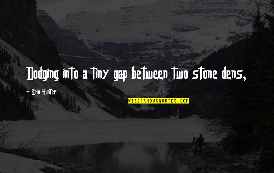 Mr Tiny Quotes By Erin Hunter: Dodging into a tiny gap between two stone