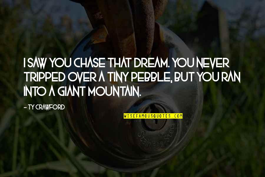 Mr Tiny Quotes By Ty Crawford: I saw you chase that dream. You never
