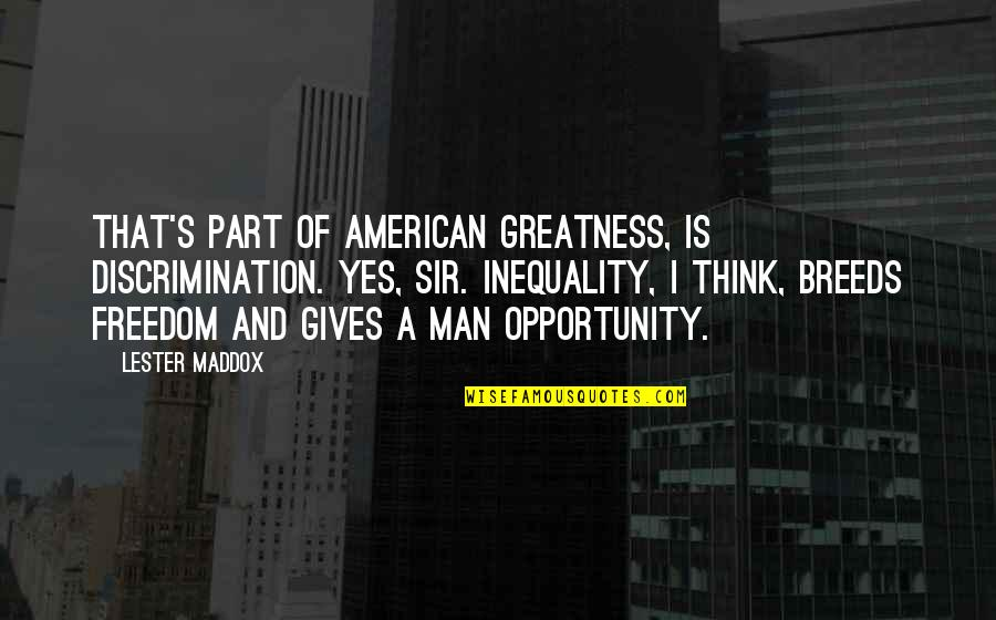 Mrs Maddox Quotes By Lester Maddox: That's part of American greatness, is discrimination. Yes,
