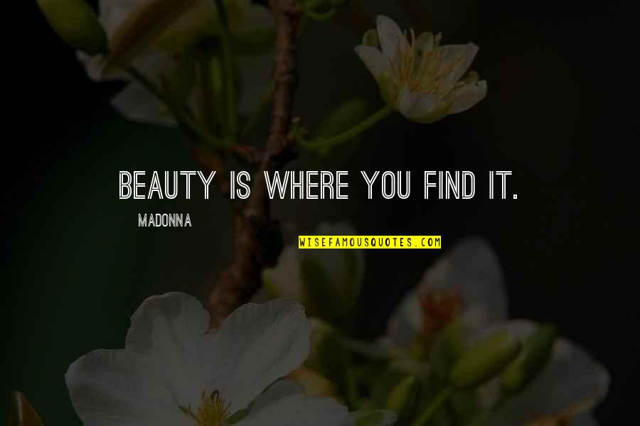 Muhammad Ali Quran Quotes By Madonna: Beauty is where you find it.