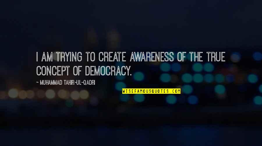Muhammad Tahir-ul-qadri Quotes By Muhammad Tahir-ul-Qadri: I am trying to create awareness of the