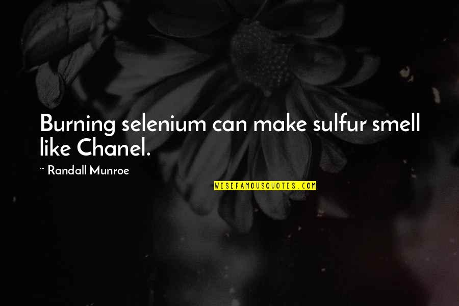 Munroe Quotes By Randall Munroe: Burning selenium can make sulfur smell like Chanel.
