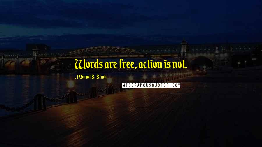 Murad S. Shah quotes: Words are free, action is not.