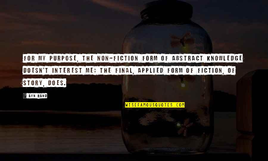 Murdoc Quotes By Ayn Rand: For my purpose, the non-fiction form of abstract