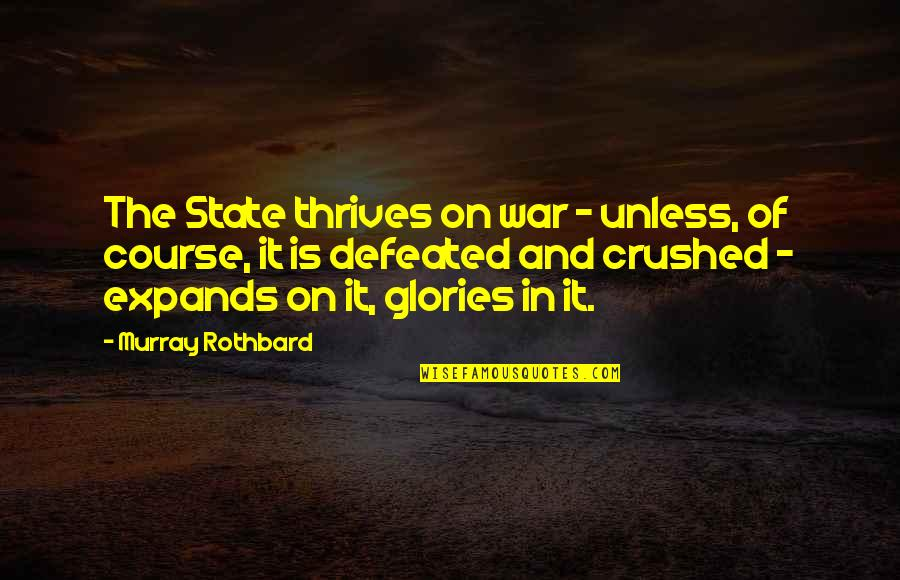 Murray N Rothbard Quotes By Murray Rothbard: The State thrives on war - unless, of