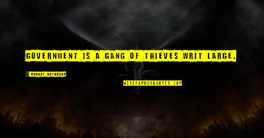 Murray N Rothbard Quotes By Murray Rothbard: Government is a gang of thieves writ large.
