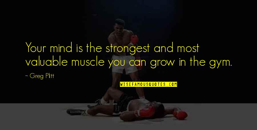 Muscles Quotes By Greg Plitt: Your mind is the strongest and most valuable