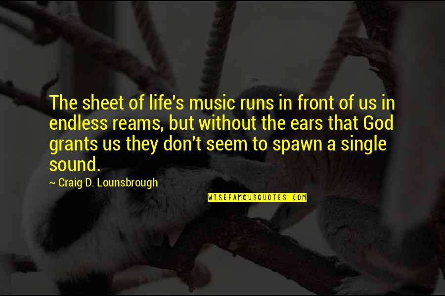 Music And Life Inspirational Quotes By Craig D. Lounsbrough: The sheet of life's music runs in front