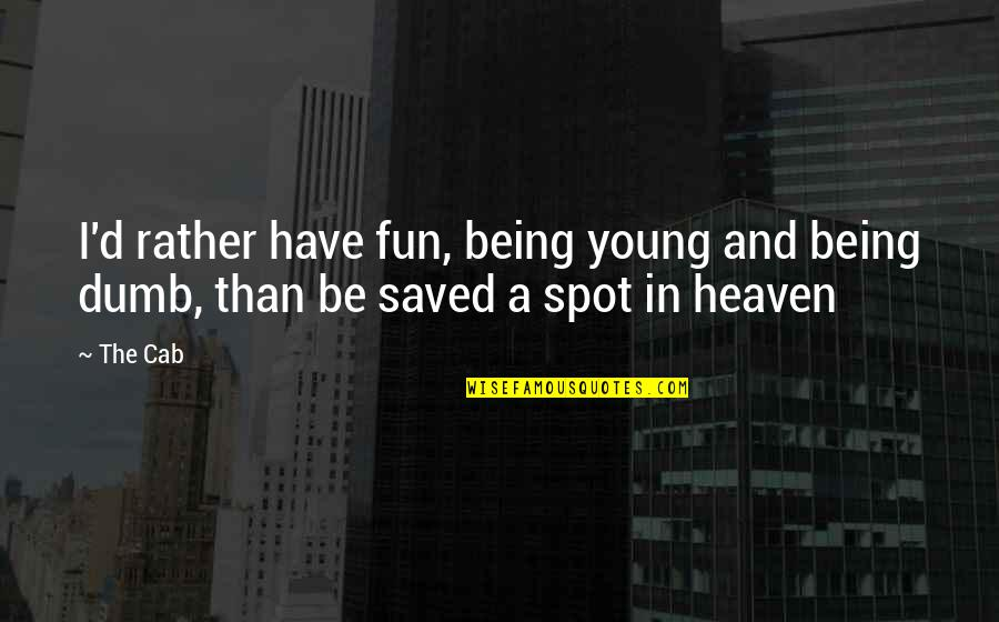 Music And Lyrics Quotes By The Cab: I'd rather have fun, being young and being