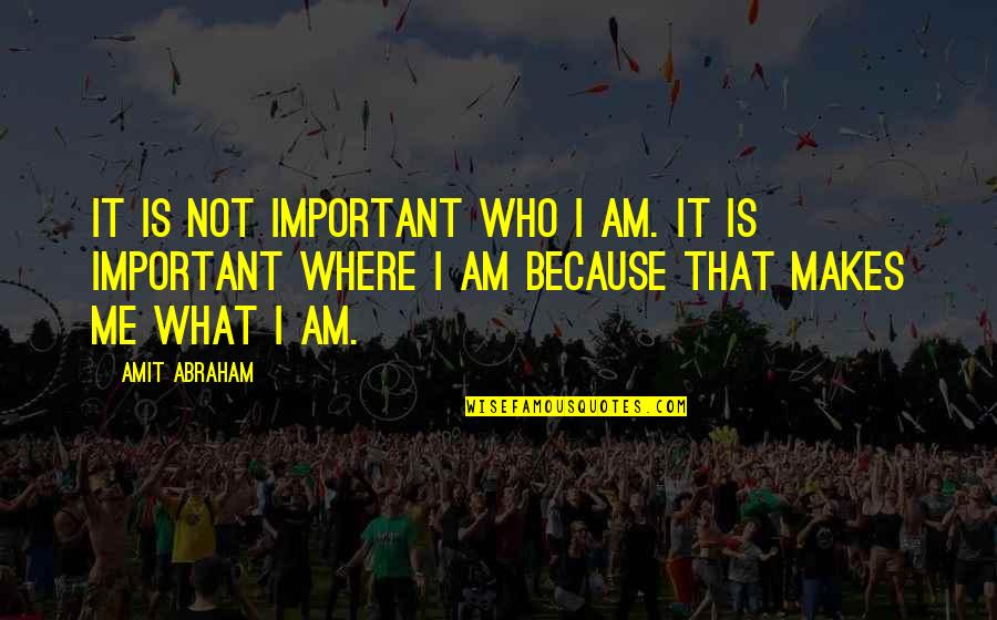 Music Being Timeless Quotes By Amit Abraham: It is not important WHO I am. It
