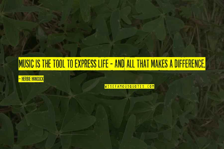 Music Makes My Life Quotes By Herbie Hancock: Music is the tool to express life -