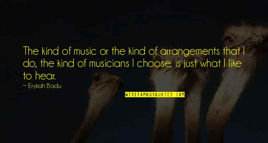 Music Musicians Quotes By Erykah Badu: The kind of music or the kind of