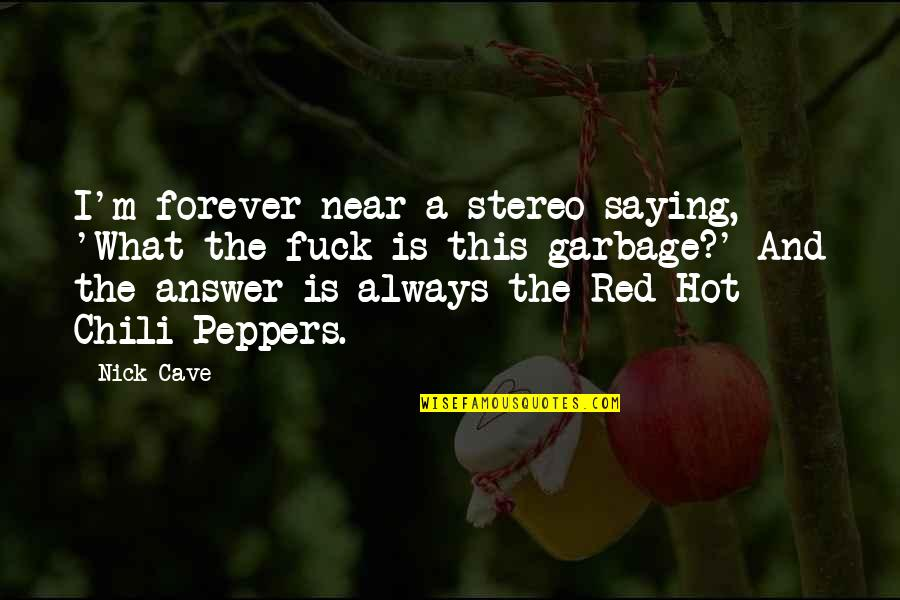 Music Musicians Quotes By Nick Cave: I'm forever near a stereo saying, 'What the