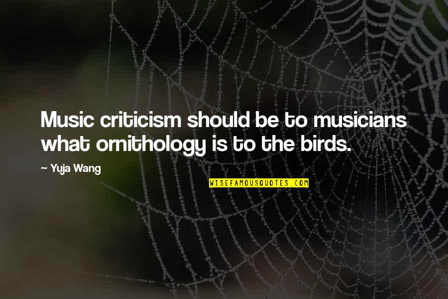 Music Musicians Quotes By Yuja Wang: Music criticism should be to musicians what ornithology