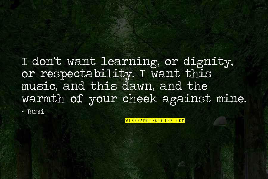 Music Rumi Quotes By Rumi: I don't want learning, or dignity, or respectability.
