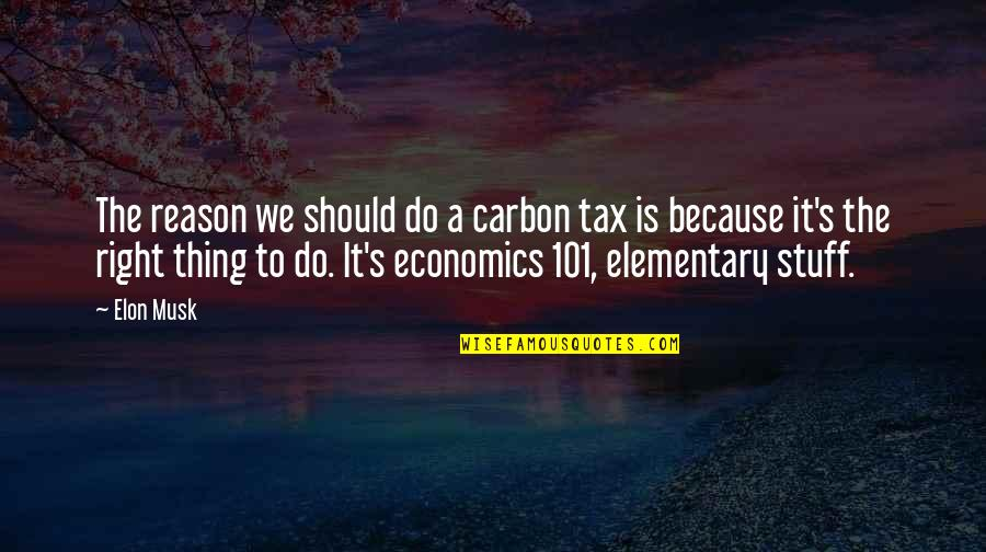 Musk Quotes By Elon Musk: The reason we should do a carbon tax