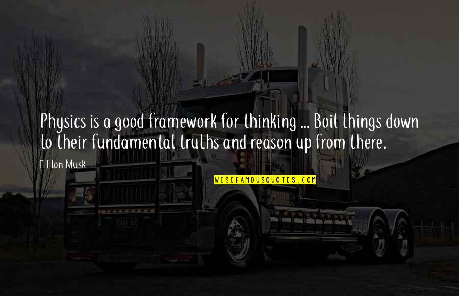 Musk Quotes By Elon Musk: Physics is a good framework for thinking ...