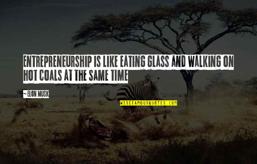 Musk Quotes By Elon Musk: Entrepreneurship is like eating glass and walking on