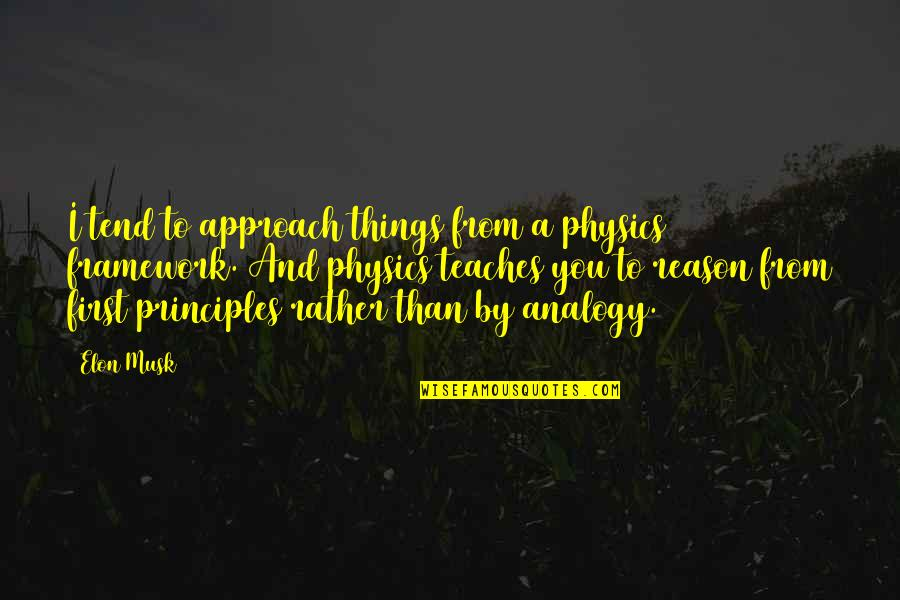 Musk Quotes By Elon Musk: I tend to approach things from a physics