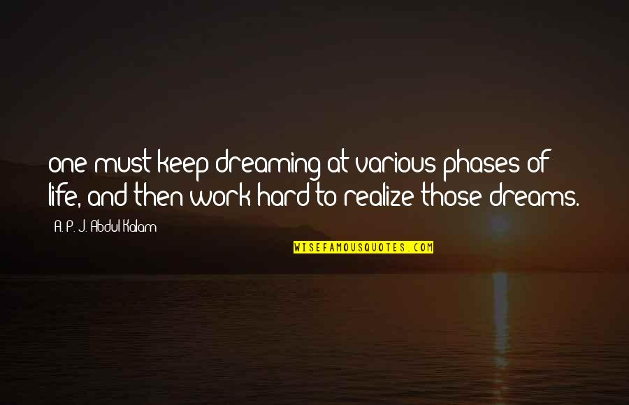 Must Be Dreaming Quotes By A. P. J. Abdul Kalam: one must keep dreaming at various phases of