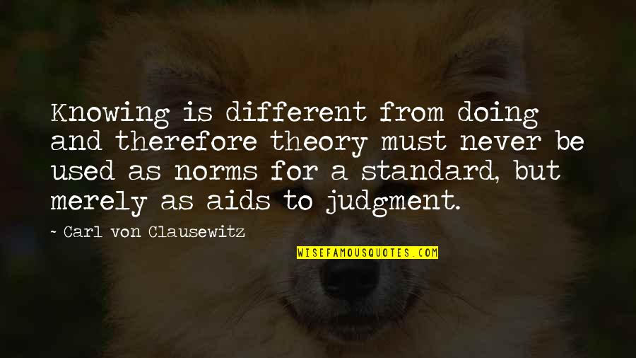 Must Be Quotes By Carl Von Clausewitz: Knowing is different from doing and therefore theory