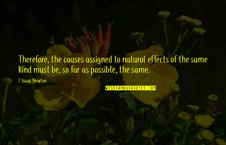 Must Be Quotes By Isaac Newton: Therefore, the causes assigned to natural effects of