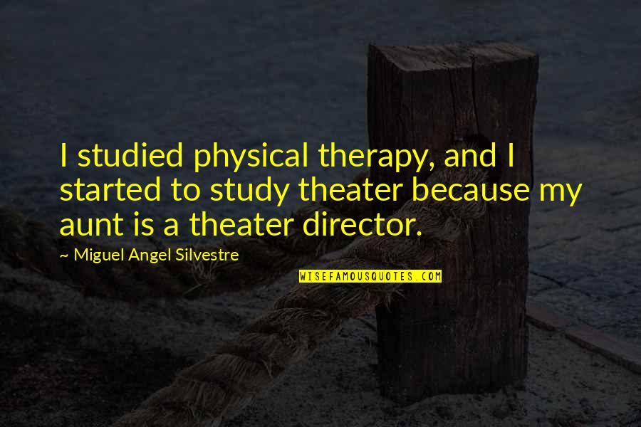 My Aunt Quotes By Miguel Angel Silvestre: I studied physical therapy, and I started to