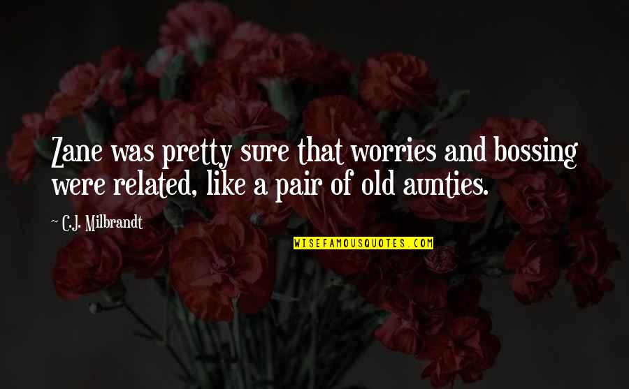 My Aunties Quotes By C.J. Milbrandt: Zane was pretty sure that worries and bossing