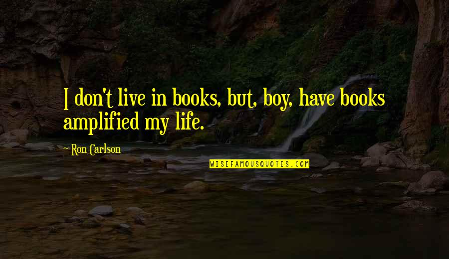 My Boy Quotes By Ron Carlson: I don't live in books, but, boy, have