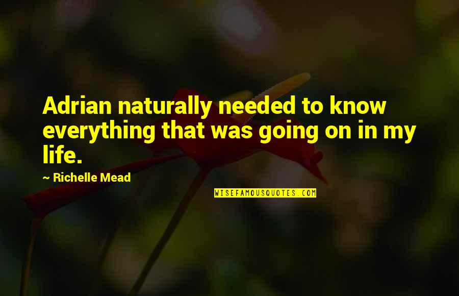 My Everything Quotes By Richelle Mead: Adrian naturally needed to know everything that was