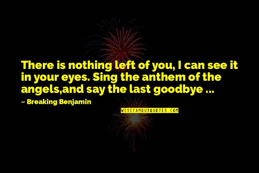 My Eyes Only See You Quotes By Breaking Benjamin: There is nothing left of you, I can